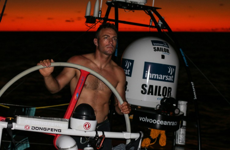 Eric Peron at his best helping the boat during sunset.