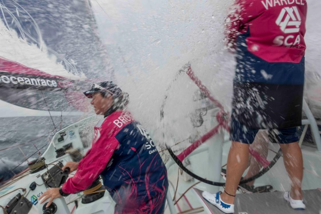 2014-15, ACTION, Carolijn Brouwer, LEGS, Leg 6, Liz Wardley, OBR, Team SCA, VOR, Volvo Ocean Race, onboard, splash
