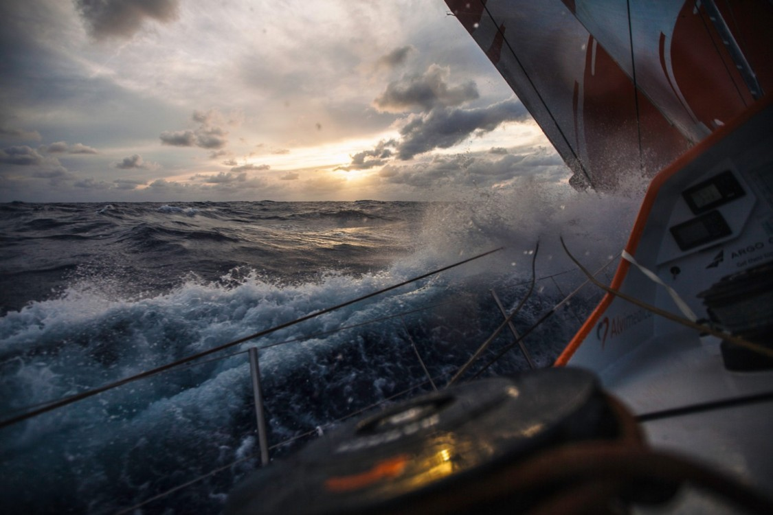 2014-15, Leg6, OBR, ONBOARD, TEAM ALVIMEDICA, VOR, Volvo Ocean Race, sunset, splash, wet