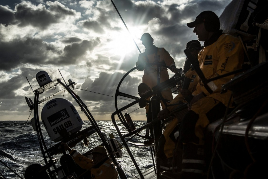 2014-15, Abu Dhabi Ocean Racing, Leg7, VOR, Volvo Ocean Race, onboard, sunset, sillhouette, Inmarsat