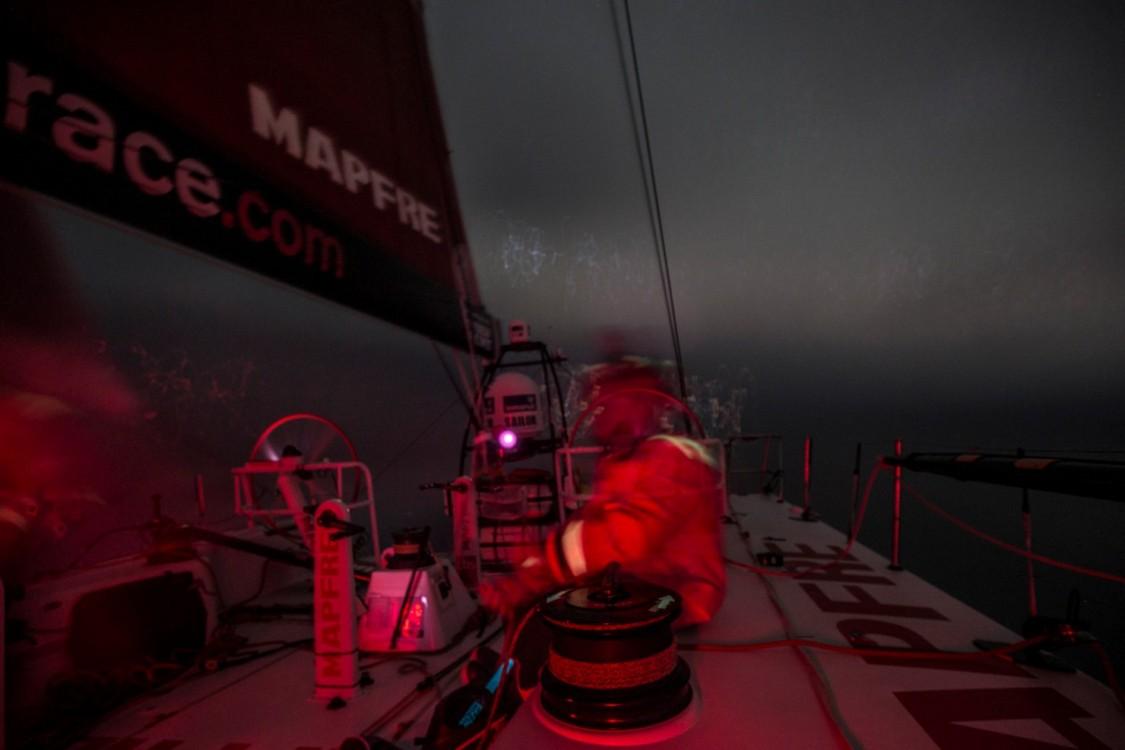 2014 - 15, Antonio Cuervas-Mons, Leg7, MAPFRE, OBR, Rob Greenhalgh, VOR, Volvo Ocean Race, Willy Altadill, onboard, night, lights