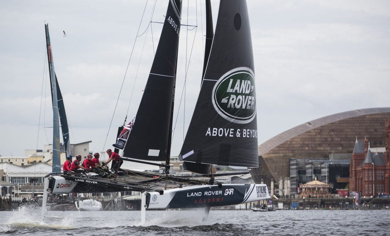 The Extreme Sailing Series 2016, Multihull, GC32, Cardiff, Act3, Foiling Catamaran, Land Rover BAR Academy, LandRover BAR