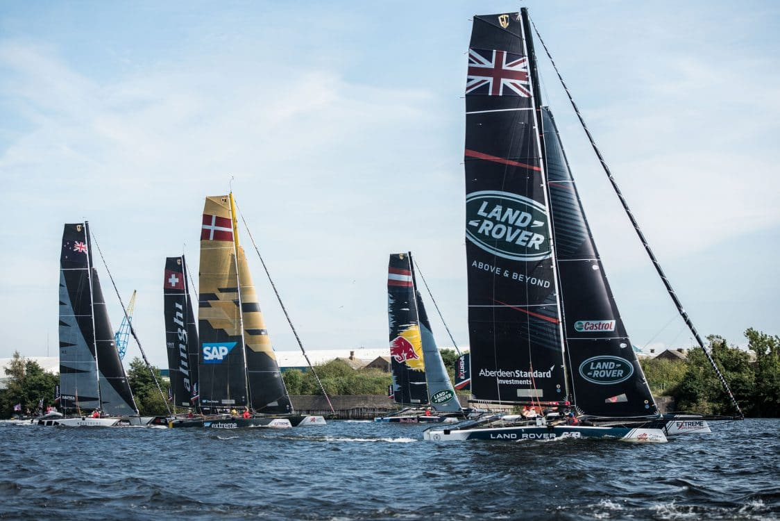 Cardiff, Day2, ESS, Extreme Sailing Series, GC32, Land Rover BAR Academy, NZ Extreme Sailing Team, SAP Extreme Sailing Team, Vincent Curutchet