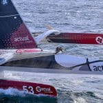 09-2017, DAY, JOUR, OUTSIDE, BELLE ILE, FRANCE, HELI, AERIAL, ACTUAL, YVES LE BLEVEC, MAXI TRIMARAN, ULTIM, RECORD TOUR DU MONDE A L'ENVERS, SOLO, SINGLE HANDED