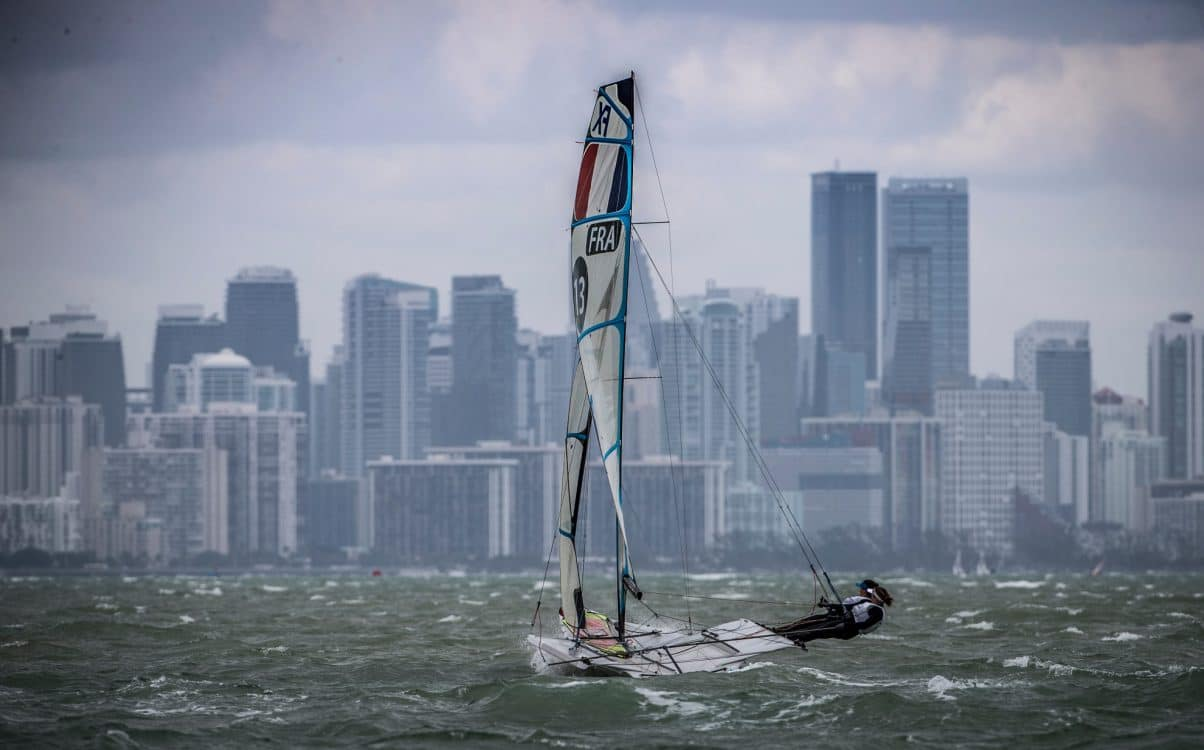 384 FRA 13 Julie Bossard (W) Aude Compan 49erFX, 49erFX, Classes, Olympic Sailing, Sailing Energy, World Cup Series Miami, World Sailing