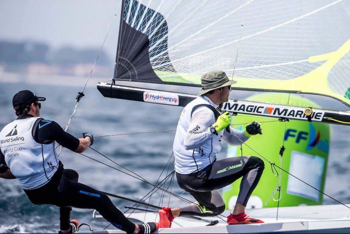 49er, CLASSES, FRA 7 16 Kévin Fischer (M) Yann Jauvin 49er, Olympic Sailing, Sailing Energy, World Cup Series Hyeres, World Sailing